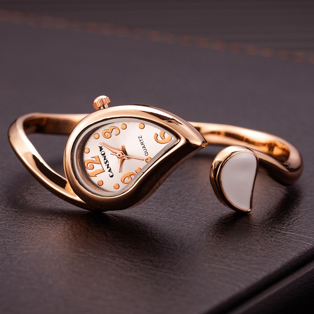 Deffrun Unique Design Leaf Shape Ladies Bracelet Watch