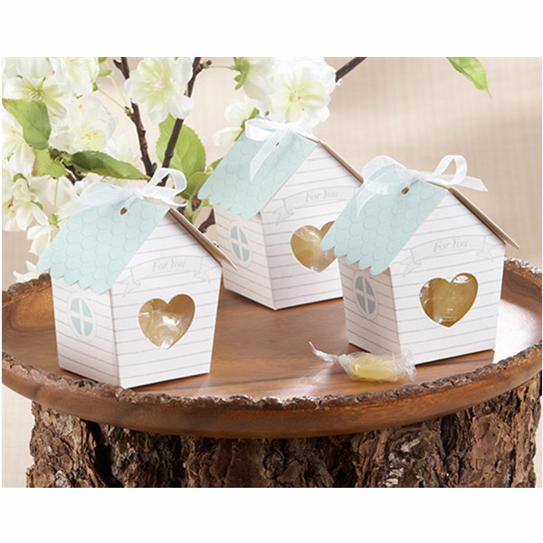 Mini House Candy Boxes With Clear Heart Wedding Favor Gift