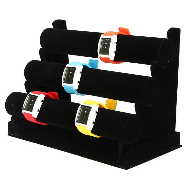 12 Inch Black 3-Tier Watch Bracelet Jewelry Display Ho