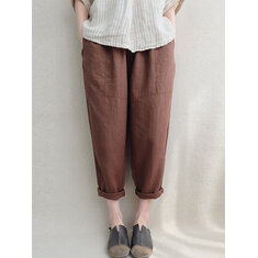 Women Vintage Elastic Waist Solid Cotton Pant