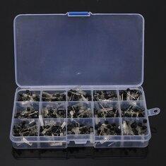 600Pcs TO-92 NPN PNP Bipolar Transistor 15 Value Assortment Kit