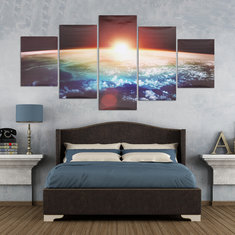 5 Cascade Sunrise Earth Canvas Wall Painting Picture Home Decoration No Framed