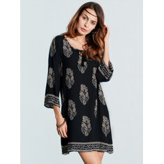 Women Vintage Floral Printed 3/4 Sleeve Boho Mini Dresses
