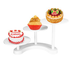 White 3 Tiers Cake Stands Plastic Cupcake Dessert Wedding Birthday Party Display Decorations