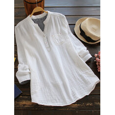Women Solid Color Long Sleeve Button Pocket Cotton Shirts