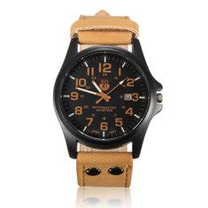 Men Casual PU Leather Band Date Sport Analog Quartz Wrist Watch