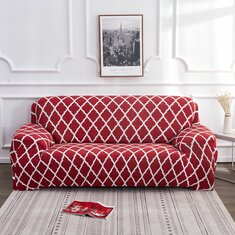 1/2/3/4 Seater Red Elastic Sofa Chair Covers Slipcover Settee Stretch Floral Couch Protector