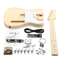Unfinished DIY Electric Guitar Mahogany Body Rosewood Fingerboard Kit Set Durable