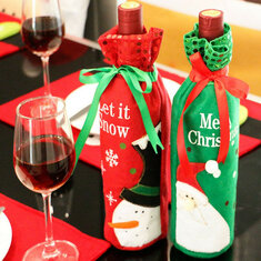Christmas Sequins Wine Bottle Wrap Cover Bags Party Gift Xmas Table Dinner Decor