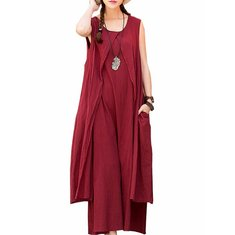 Casual Sleeveless O-Neck Solid Color Loose Maxi Dress