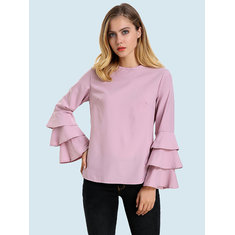 Elegant Women Blouse Solid Color Bell Sleeve O-Neck T-Shirt