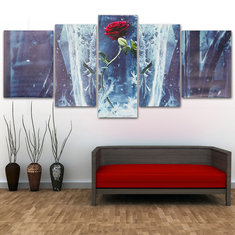 5Pcs Set Rose Modern Canvas Print Paintings Wall Art Pictures Home Decor Unframed
