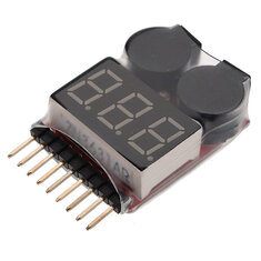 Bộ kiểm tra điện áp ắc quy Bộ theo dõi pin Báo động cho pin 1S-8S Lipo