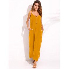 Casual Women Spaghetti Strap V-neck Long Maxi Dress