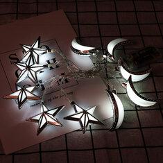 Battery Powered 10PCS Moon Star Shape Eid Ramadan LED String Light Indoor Home Party Decor