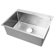 Stainless Steel Single Bowl Kitchen Sinks Commercial Home Top 60x45cm With Sewer Device Pipe Drainer
