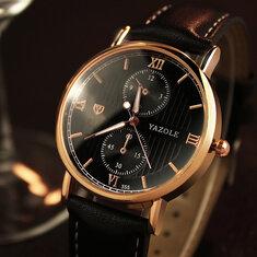 YAZOLE355Светящиесякожаныеремешкииз кожи Кварцевые часы