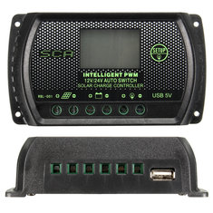DANIU 10A 20A 30A PWM LCD USB Solar Panel Battery Regulator Charge Controller 12V 24V