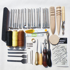 59Pcs DIY Leather Tools Kit Hand Stitching Sewing Punch Carving Stamp Craft Set