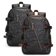 Men Vintage PU Leather Zipper Laptop Travel School Outdoor Backpack Bag Rucksack