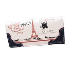 Women Eiffel Tower Long Wallet Girls Candy Color Stamp Purse Card Holder Phone Bags