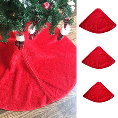 90/122/127cm Christmas Red Plush Tree Skirt Base Floor Mat Cover Party Art Decorations