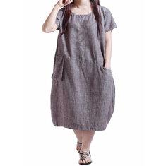 Casual Women Loose Plain Round Neck Pockets Dress