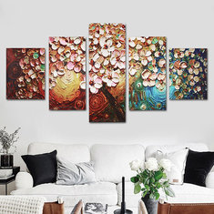 5Pcs Flower Tree Abstract Canvas Print Paintings Pictures Art Home Decor Unframed