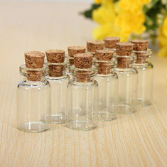 10pcs Clear Empty Cork Message Glass Bottles Vial For Gifts