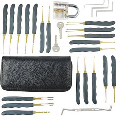 DANIU 24pcs Single Hook Lock Pick Set with 1Pc Transparent Lock Locksmith Practice Training Skill Set