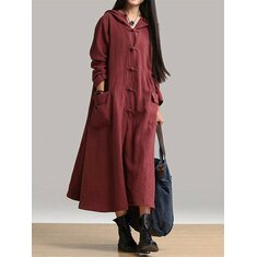 Vintage Women Plate Buckle Hooded Maxi Dress