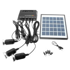 6V 4W DIY Outdoor Solar Panel With Power Bank + 3*3.7V 1W LED Lamp For USB Charging