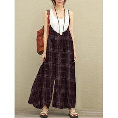 S-5XL Women Sleeveless Strap Plaid Harem Jumpsuits