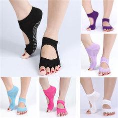 1 Pair Cotton Yoga Socks Half Toe Ankle Grip Durable Five Finger No-Slip