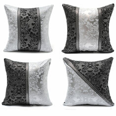 45*45cm Retro Style Square Black Silver Throw Pillow Case Sofa Imitation Leather Cushion Cover