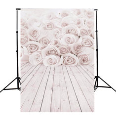3x5ft Valentine's Day White Roses Love Vinyl Backgrounds Props Photography Backdrops