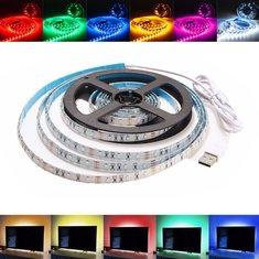 2M Non-Waterproof USB SMD3528 TV Background Computer LED Strip Tape Flexible Light DC5V