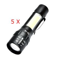 5pcs XANES T6 4Modes Front + Side Light USB Rechargeable Zoomable Mini Flashlight Fishing Lamp