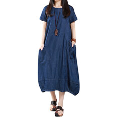 Casual Women Loose Denim Pockets Lantern Maxi Dress