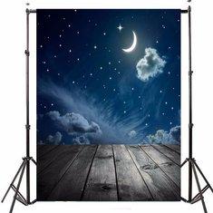 3x5FT Vinyl Moon Night Sky Star Wood Floor Photography Backdrop Background Studio Prop