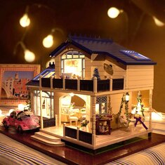 Cuteroom 1:24DIY Handicraft Miniature Voice Activated LED Light&Music with Cover Provence Dollhouse
