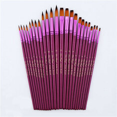 12pcs Flat Tip Round Tip Painting Brushes Artist Nylon Hair Watercolor Oil Drawing Pen