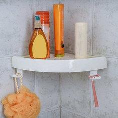 Bathroom Shower Corner Storage Paper Shelf Holder Shower Caddy Holder Rack White Organizer