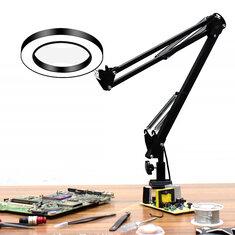 DANIU Flexible Desk Large 33cm+33cm 5X USB LED Magnifying Glass 3 Colors Illuminated Magnifier Lamp Loupe Reading/Rework/Soldering with Long Bracket