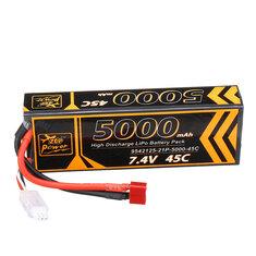 ZOP Power 7.4V 5000mAh 45C 2S Lipo Battery T Plug for 1/10 RC Racing Car