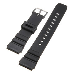 18mm Black Rubber Replacement Wrist Watch Band Strap