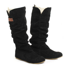 Women Knee High Boots Lace Cuff Increased Internal Woolen Shoes
