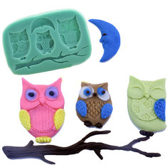 3D Silicone Owls Moon Fondant Chocolate Mold Mould Cake DIY Decoration Baking Tool