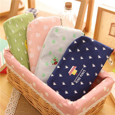 Canvas Zipper Student Pencil Pen Case Cosmetic Makeup Storage Pouch Holder Bag