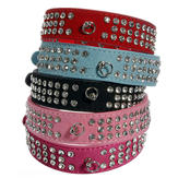 Pet Puppy Dog Suede Leather 3 rzędy Diamante Crystal Rhinestone Collar
